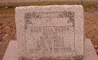 WILSON COOK, MARY ETTA - Columbia County, Arkansas | MARY ETTA WILSON COOK - Arkansas Gravestone Photos