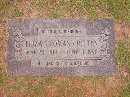 CRITTEN, ELIZA - Columbia County, Arkansas | ELIZA CRITTEN - Arkansas Gravestone Photos