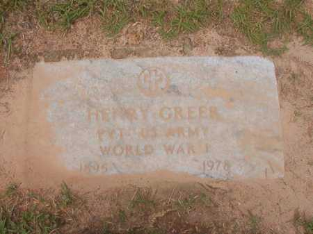 GREER (VETERAN WWI), HENRY - Columbia County, Arkansas | HENRY GREER (VETERAN WWI) - Arkansas Gravestone Photos