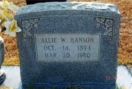 HANSON, ALLIE W. - Columbia County, Arkansas | ALLIE W. HANSON - Arkansas Gravestone Photos