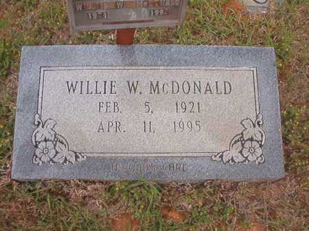 MCDONALD, WILLIE W - Columbia County, Arkansas | WILLIE W MCDONALD - Arkansas Gravestone Photos