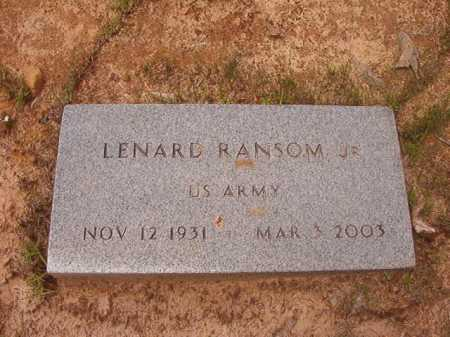 RANSOM, JR (VETERAN), LENARD - Columbia County, Arkansas | LENARD RANSOM, JR (VETERAN) - Arkansas Gravestone Photos