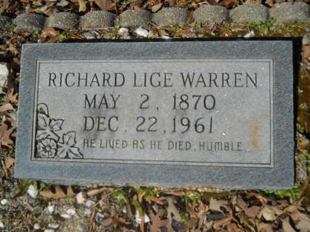 WARREN, RICHARD LIGE - Columbia County, Arkansas | RICHARD LIGE WARREN - Arkansas Gravestone Photos