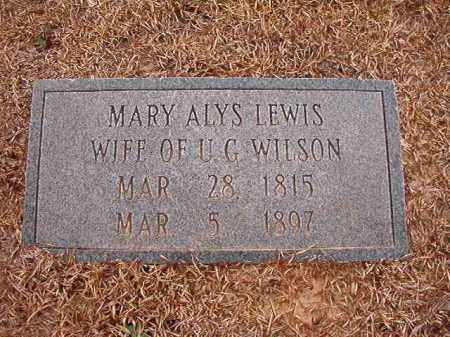 WILSON, MARY ALYS - Columbia County, Arkansas | MARY ALYS WILSON - Arkansas Gravestone Photos