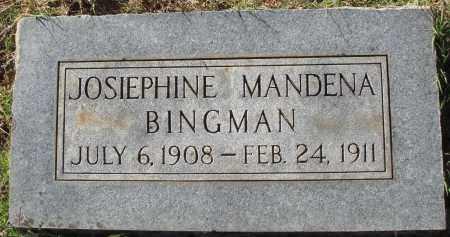 BINGMAN, JOSIEPHINE MANDENA - Conway County, Arkansas | JOSIEPHINE MANDENA BINGMAN - Arkansas Gravestone Photos