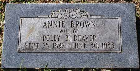 BROWN DEAVER, ANNIE - Conway County, Arkansas | ANNIE BROWN DEAVER - Arkansas Gravestone Photos