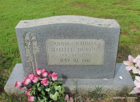 MALLETT DUNLAP, ANNIE NAOMIA - Conway County, Arkansas | ANNIE NAOMIA MALLETT DUNLAP - Arkansas Gravestone Photos