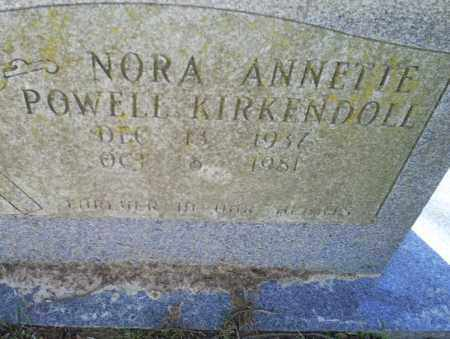 POWELL KIRKENDOLL, NORA ANNETTE - Conway County, Arkansas | NORA ANNETTE POWELL KIRKENDOLL - Arkansas Gravestone Photos