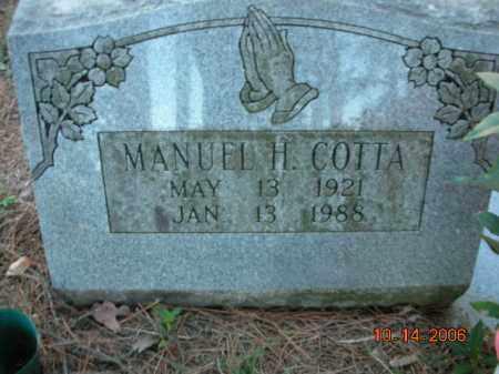 COTTA, MANUEL H. - Crawford County, Arkansas   MANUEL H. COTTA - Arkansas Gravestone Photos