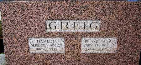 GREIG, HAMLET - Crawford County, Arkansas | HAMLET GREIG - Arkansas Gravestone Photos