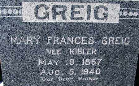 KIBLER GREIG, MARY FRANCES - Crawford County, Arkansas | MARY FRANCES KIBLER GREIG - Arkansas Gravestone Photos