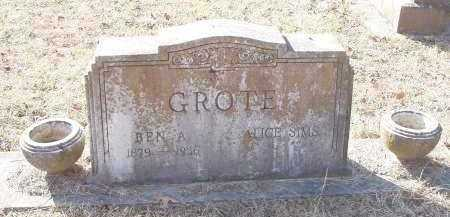 SIMS GROTE, ALICE - Crawford County, Arkansas | ALICE SIMS GROTE - Arkansas Gravestone Photos