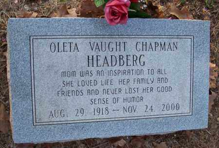 VAUGHT HEADBERG, OLETA CHAPMAN - Crawford County, Arkansas | OLETA CHAPMAN VAUGHT HEADBERG - Arkansas Gravestone Photos