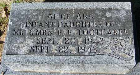 TOOTHAKER, ALICE ANN - Crawford County, Arkansas | ALICE ANN TOOTHAKER - Arkansas Gravestone Photos