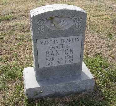 "BANTON, MARTHA FRANCES ""MATTIE"" - Cross County, Arkansas 