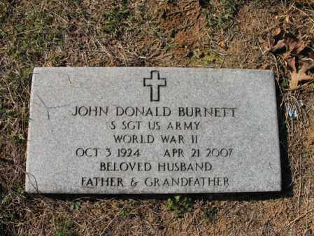 BURNETT (VETERAN WWII), JOHN DONALD - Cross County, Arkansas | JOHN DONALD BURNETT (VETERAN WWII) - Arkansas Gravestone Photos