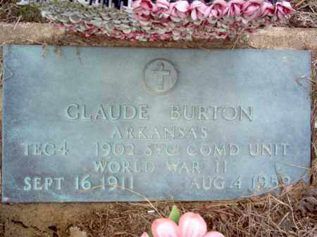 BURTON (VETERAN WWII), CLAUDE - Cross County, Arkansas | CLAUDE BURTON (VETERAN WWII) - Arkansas Gravestone Photos
