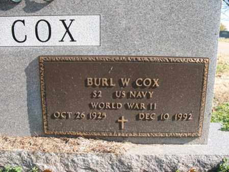 COX (VETERAN WWII), BURL W - Cross County, Arkansas | BURL W COX (VETERAN WWII) - Arkansas Gravestone Photos