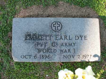 DYE (VETERAN WWI), EMMETT EARL - Cross County, Arkansas | EMMETT EARL DYE (VETERAN WWI) - Arkansas Gravestone Photos