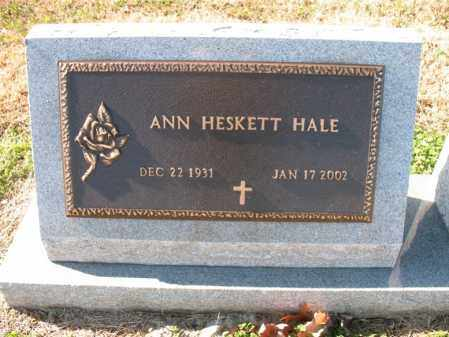 HESKETT HALE, ANN - Cross County, Arkansas | ANN HESKETT HALE - Arkansas Gravestone Photos
