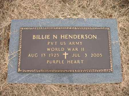 HENDERSON (VETERAN WWII), BILLIE N - Cross County, Arkansas | BILLIE N HENDERSON (VETERAN WWII) - Arkansas Gravestone Photos