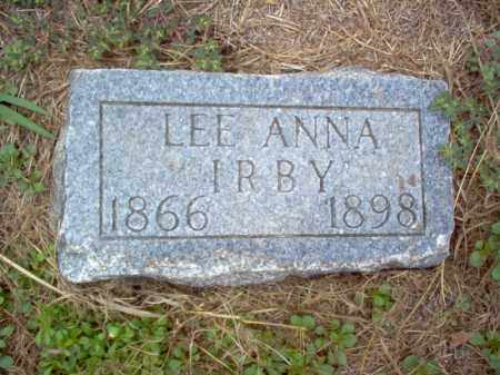 IRBY, LEE ANNA - Cross County, Arkansas | LEE ANNA IRBY - Arkansas Gravestone Photos