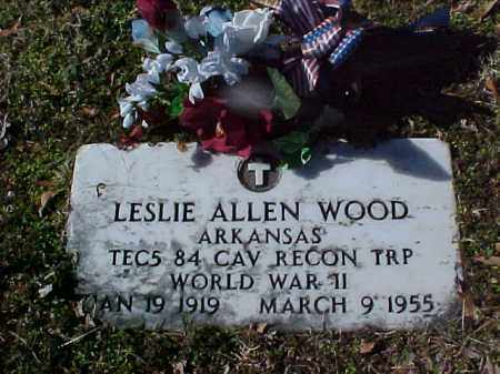 WOOD  (VETERAN WWII), LESLIE ALLEN - Cross County, Arkansas | LESLIE ALLEN WOOD  (VETERAN WWII) - Arkansas Gravestone Photos