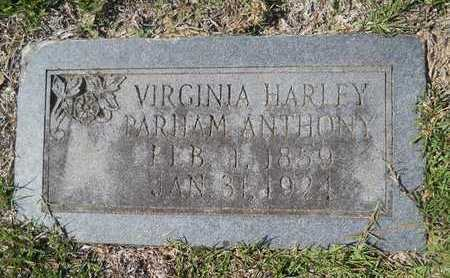 PARHAM ANTHONY, VIRGINIA HARLEY - Dallas County, Arkansas | VIRGINIA HARLEY PARHAM ANTHONY - Arkansas Gravestone Photos