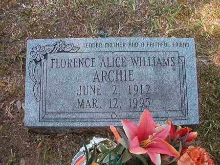 WILLIAMS ARCHIE, FLORENCE ALICE - Dallas County, Arkansas | FLORENCE ALICE WILLIAMS ARCHIE - Arkansas Gravestone Photos