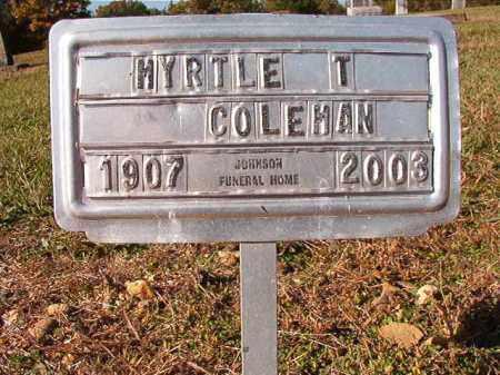 COLEMAN, MYRTLE T - Dallas County, Arkansas | MYRTLE T COLEMAN - Arkansas Gravestone Photos