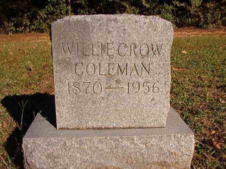COLEMAN, WILLIE CROW - Dallas County, Arkansas | WILLIE CROW COLEMAN - Arkansas Gravestone Photos