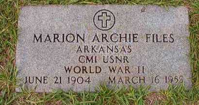 FILES (VETERAN WWII), MARION ARCHIE - Dallas County, Arkansas | MARION ARCHIE FILES (VETERAN WWII) - Arkansas Gravestone Photos