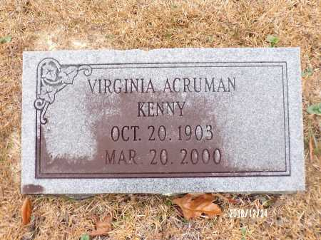 ACRUMAN KENNY, VIRGINIA - Dallas County, Arkansas | VIRGINIA ACRUMAN KENNY - Arkansas Gravestone Photos