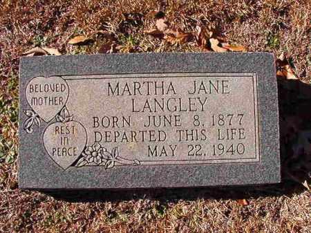 LANGLEY, MARTHA JANE - Dallas County, Arkansas | MARTHA JANE LANGLEY - Arkansas Gravestone Photos
