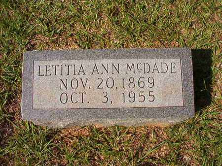 MCDADE, LETITIA ANN - Dallas County, Arkansas | LETITIA ANN MCDADE - Arkansas Gravestone Photos