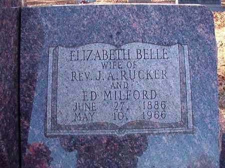 MILFORD, ELIZABETH BELLE RUCKER - Dallas County, Arkansas | ELIZABETH BELLE RUCKER MILFORD - Arkansas Gravestone Photos