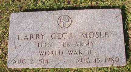 MOSLEY (VETERAN WWII), HARRY CECIL - Dallas County, Arkansas | HARRY CECIL MOSLEY (VETERAN WWII) - Arkansas Gravestone Photos