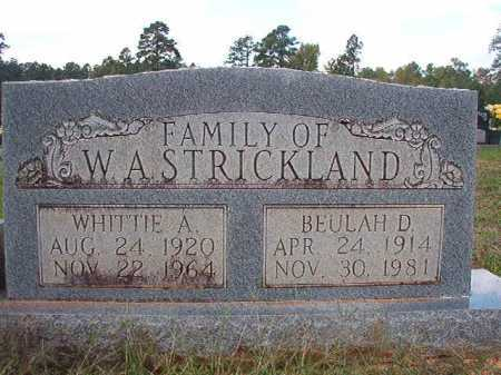 STRICKLAND, WHITTIE A - Dallas County, Arkansas | WHITTIE A STRICKLAND - Arkansas Gravestone Photos