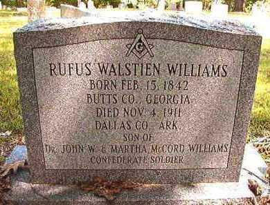 WILLIAMS, RUFUS WALSTIEN (BIO) - Dallas County, Arkansas | RUFUS WALSTIEN (BIO) WILLIAMS - Arkansas Gravestone Photos
