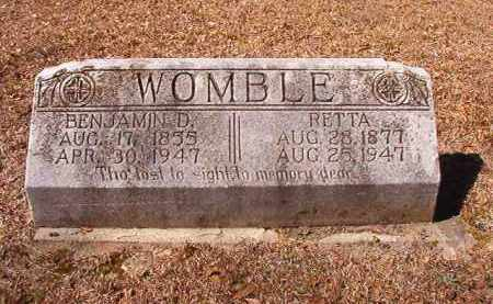 WOMBLE, BENJAMIN D - Dallas County, Arkansas | BENJAMIN D WOMBLE - Arkansas Gravestone Photos