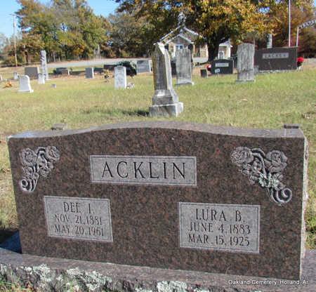 ACKLIN, DEE I. - Faulkner County, Arkansas | DEE I. ACKLIN - Arkansas Gravestone Photos