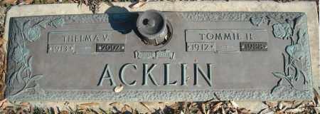 ACKLIN, TOMMIE H. - Faulkner County, Arkansas | TOMMIE H. ACKLIN - Arkansas Gravestone Photos