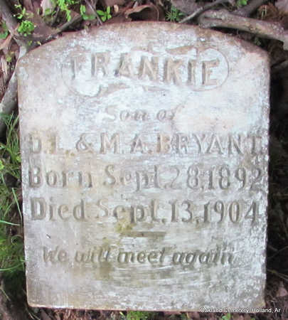 "BRYANT, WILLIAM FRANKLIN ""FRANKIE"" - Faulkner County, Arkansas 