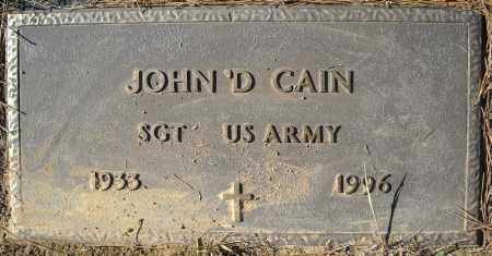 CAIN (VETERAN), JOHN D - Faulkner County, Arkansas | JOHN D CAIN (VETERAN) - Arkansas Gravestone Photos