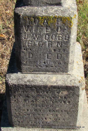 COBB, IDA F.  (CLOSE UP) - Faulkner County, Arkansas   IDA F.  (CLOSE UP) COBB - Arkansas Gravestone Photos