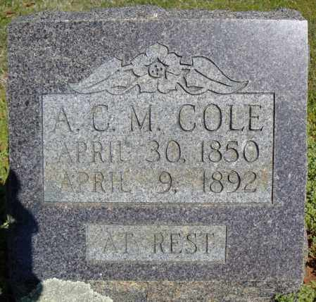 COLE, A.C.M. - Faulkner County, Arkansas | A.C.M. COLE - Arkansas Gravestone Photos