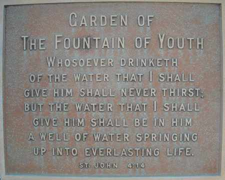*FOUNTAIN OF YOUTH PLAQUE,  - Faulkner County, Arkansas |  *FOUNTAIN OF YOUTH PLAQUE - Arkansas Gravestone Photos