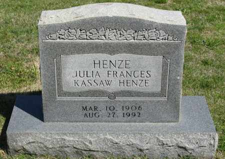 HENZE, JULIA FRANCES - Faulkner County, Arkansas | JULIA FRANCES HENZE - Arkansas Gravestone Photos
