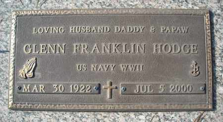 HODGE (VETERAN WWII), GLENN FRANKLIN - Faulkner County, Arkansas | GLENN FRANKLIN HODGE (VETERAN WWII) - Arkansas Gravestone Photos