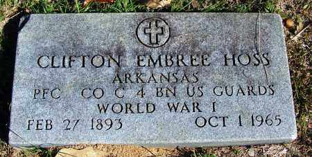 HOSS (VETERAN WWI), CLIFTON EMBREE - Faulkner County, Arkansas | CLIFTON EMBREE HOSS (VETERAN WWI) - Arkansas Gravestone Photos